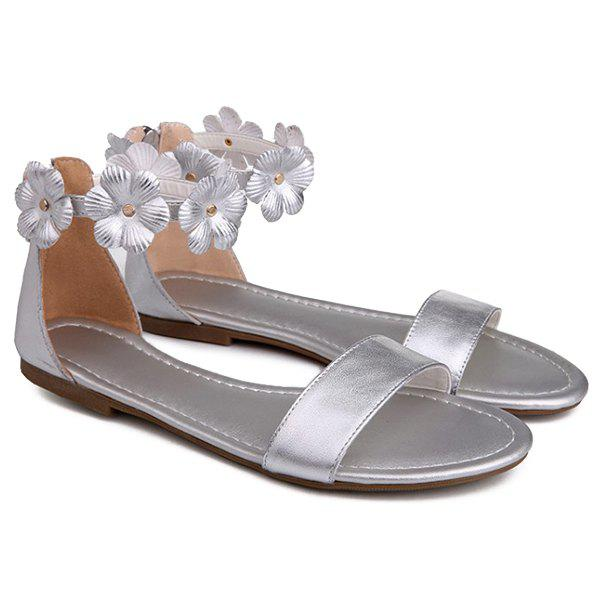 Casual Flowers and Zipper Design Women's Sandals -  SILVER