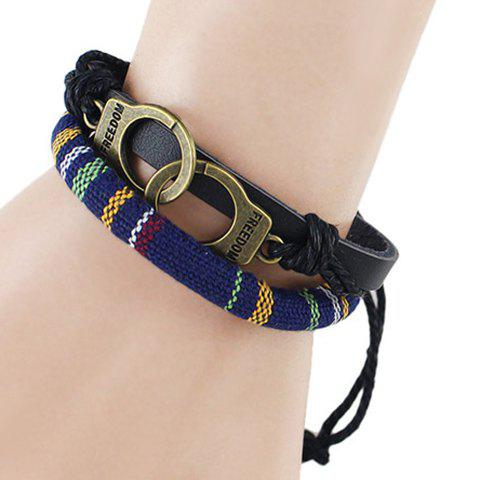 Handcuffs PU Leather Double Layer Bracelet - BLUE