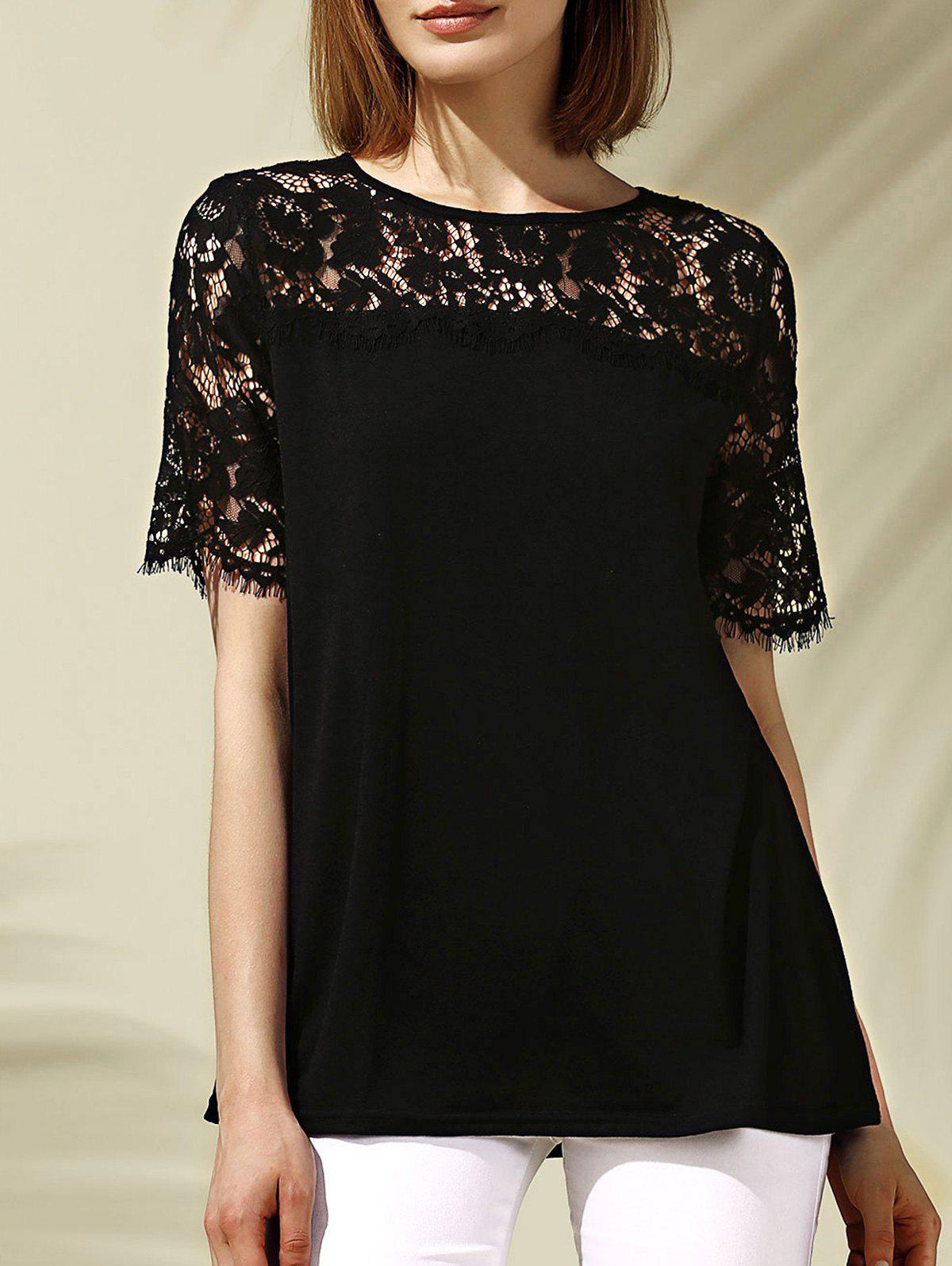 Sweet Women's Round Neck Short Sleeve Lace Spliced Hollow Out T-Shirt - BLACK S