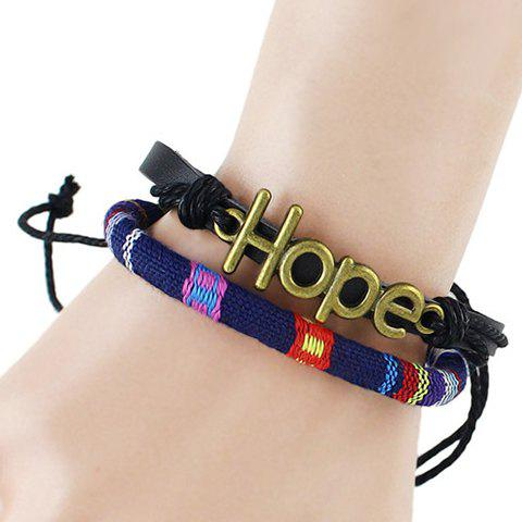 Multilayer Faux Leather Hope Bracelet - BLUE