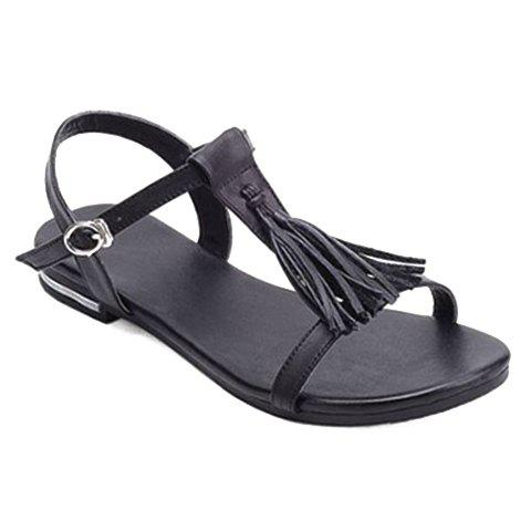 Simple Solid Colour and Tassels Design Women's Sandals - BLACK 39