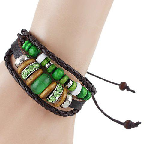 Retro Multilayer Faux Gem Rhinestone Bead Bracelet - COFFEE