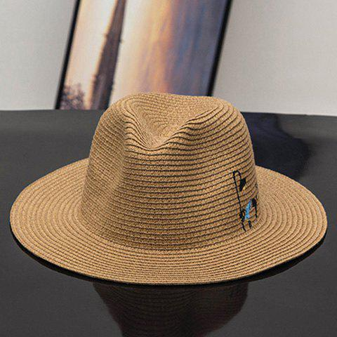 Cool Summer Chic Black Little Cat Embroidery Women's Panama Straw Hat - COFFEE
