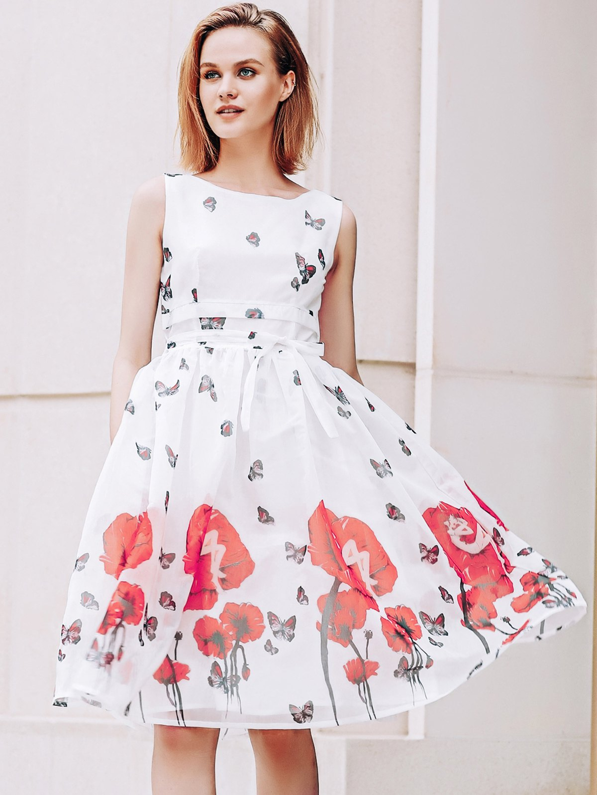 Graceful Scoop Neck  Sleeveless Floral Print Women's Dress - RED/WHITE M