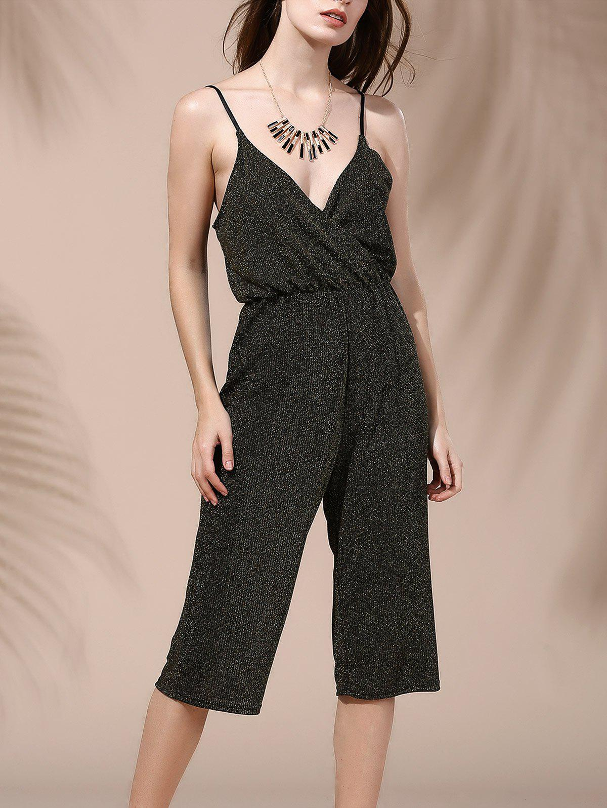 Alluring Backless Plunging Neck Solid Color Women's Jumpsuit