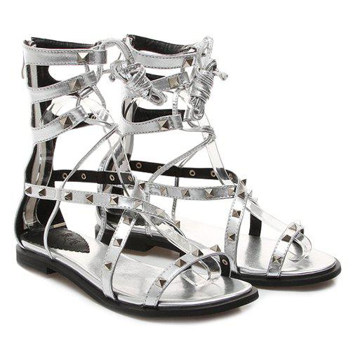 Fashionable Rivets and Cross Straps Design Women's Sandals - SILVER 39