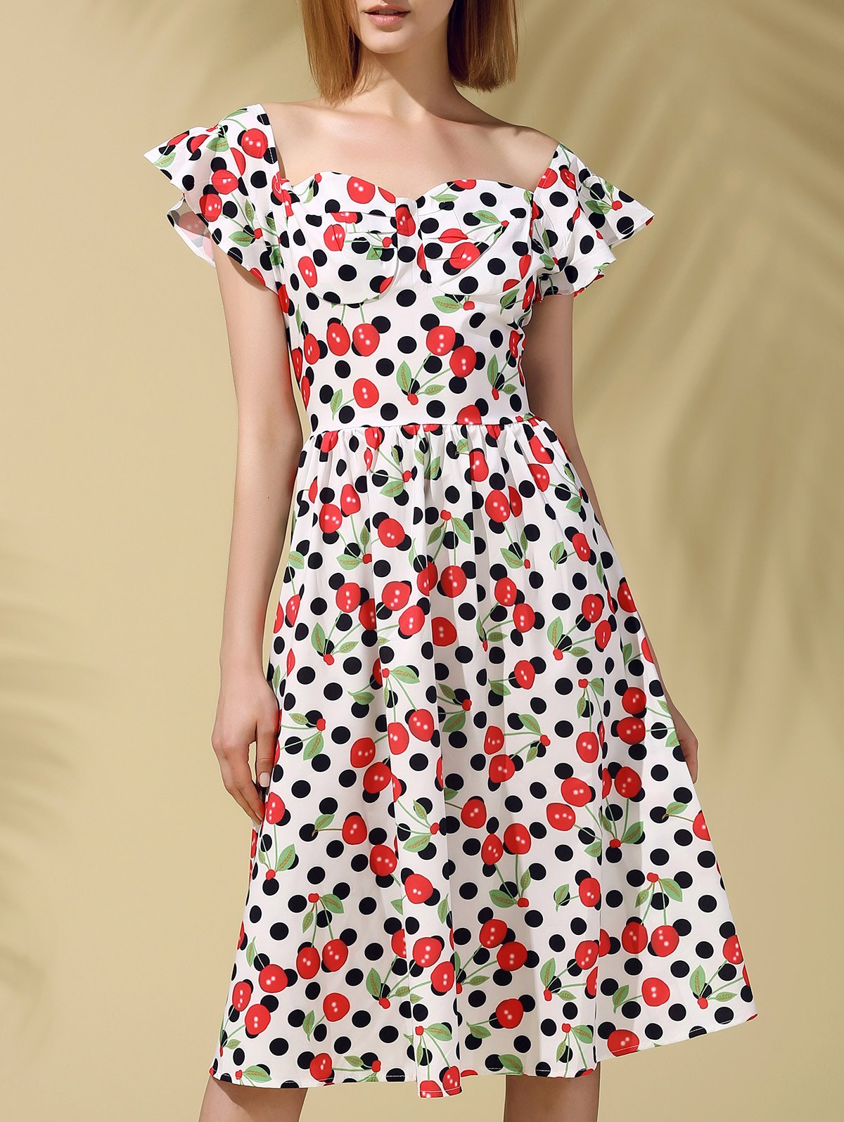 Retro Style Cherry Print Polka Dot Slimming Women's Dress - COLORMIX XS