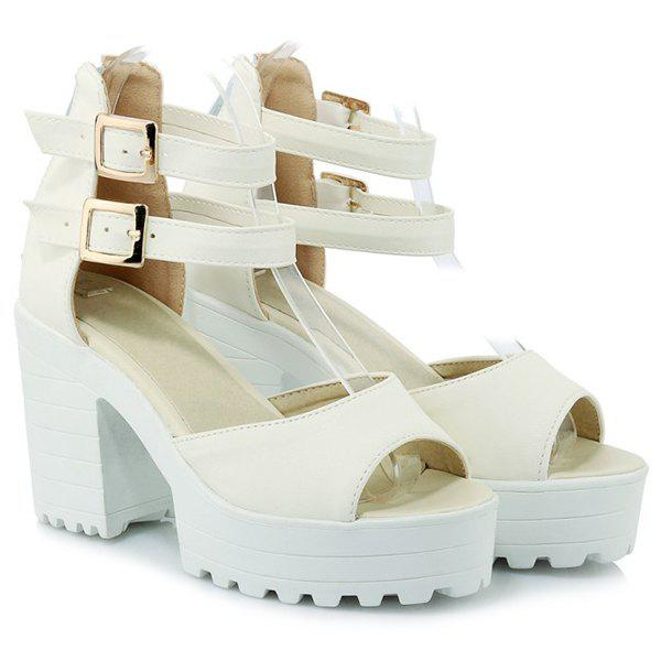Fashionable Double Buckle and Zip Design Women's Sandals - WHITE 36