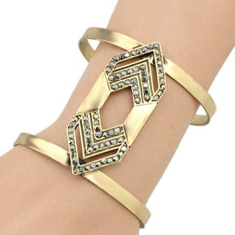 Rivet Geometric Hollow Out Cuff Bracelet - GOLDEN