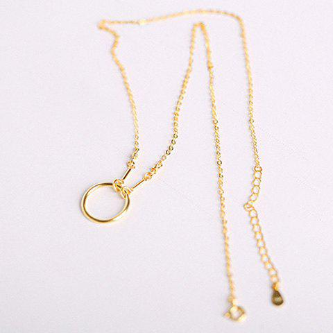 Vintage Solid Color Circle Necklace For Women - GOLDEN
