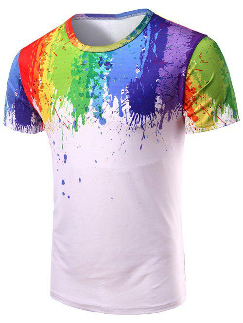 3D Splash-Ink Print Round Neck Short Sleeve Men's T-Shirt