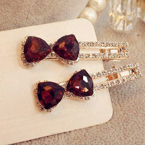Charming Faux Crystal Rhinestoned Bowknot Hairpin For Women