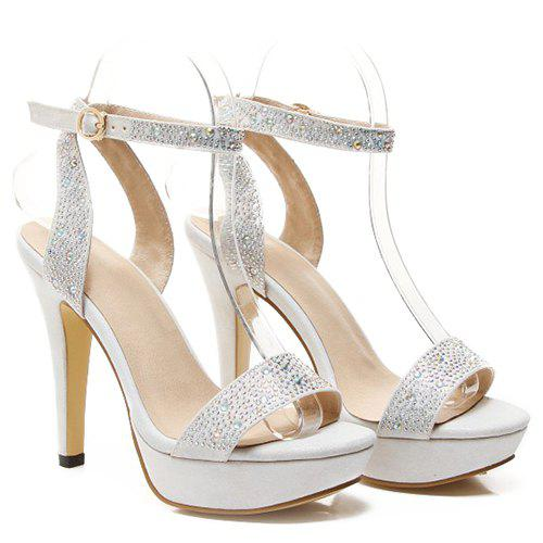 Fashionable Rhinestones and Ankle Strap Design Women's Sandals - SILVER 36