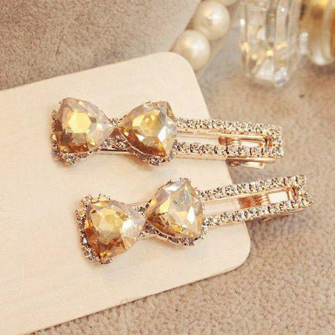 Charming Faux Crystal Rhinestoned Bowknot Hairpin For Women - CHAMPAGNE