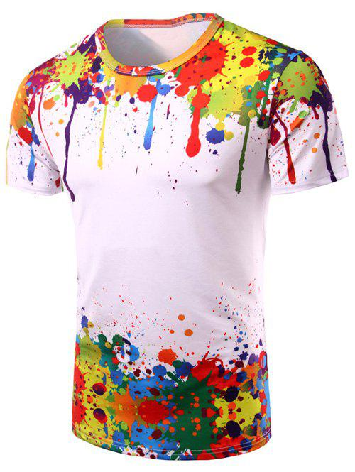 Crew Neck Colorful Splatter Paint Print T-Shirt, COLORMIX, L in T ...