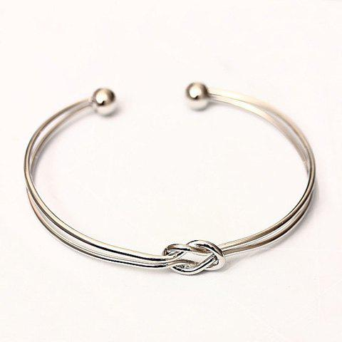 Chic Layered Knot Cuff Bracelet For Women - SILVER