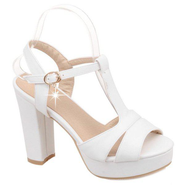 Graceful T-Strap and Chunky Heel Design Women's Sandals - WHITE 35