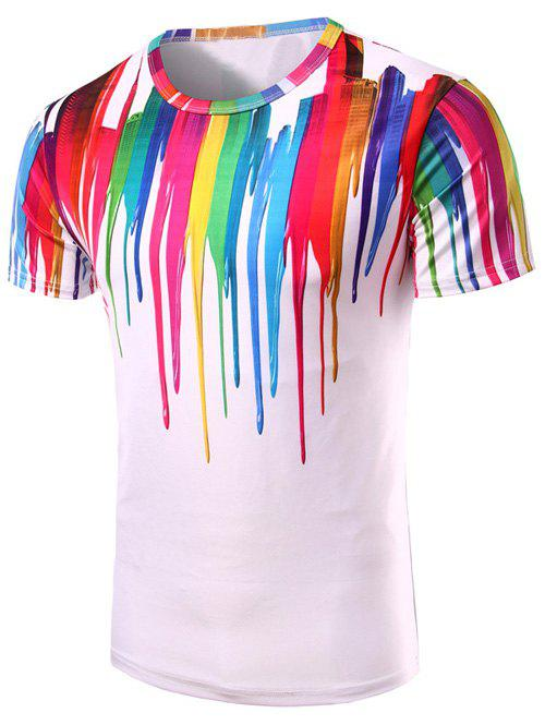 Colorful Vertical Splatter Paint Short Sleeve T-Shirt