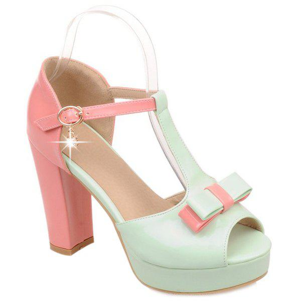 Sweet Color Block and T-Strap Design Women's Sandals - GREEN 39