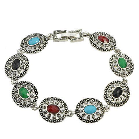 Oval Faux Gem Rhinestone Hollow Out Bracelet - SILVER