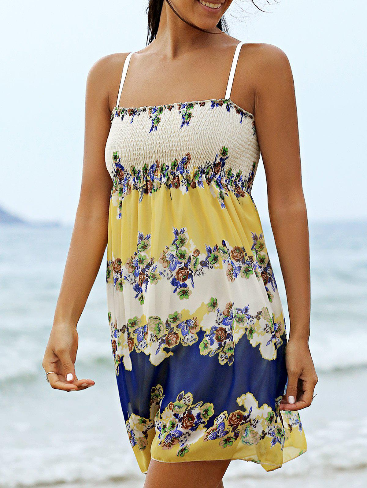 Floral Mini Slip Beach Dress - COLORMIX ONE SIZE(FIT SIZE XS TO M)