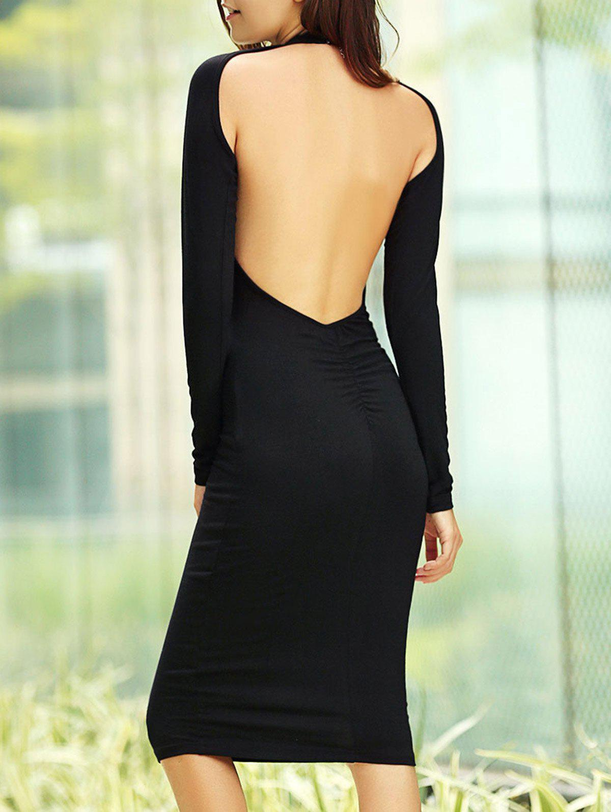 Long Sleeve Open Back Dress - BLACK M