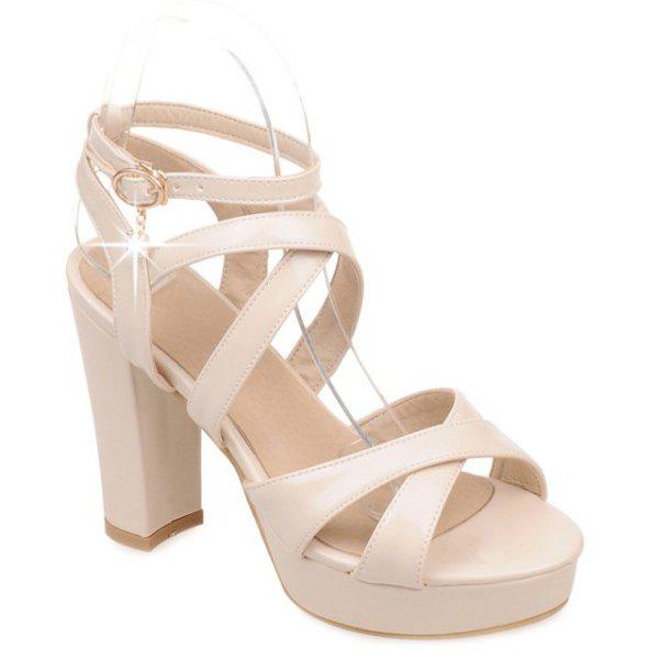 Stylish Cross-Strap and Chunky Heel Design Women's Sandals - APRICOT 39