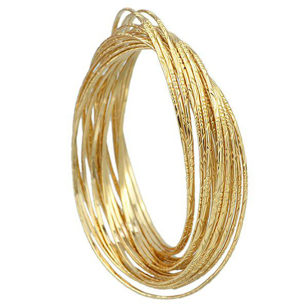 Gorgeous Solid Color Multilayer Embossed Circle Bracelet For Women