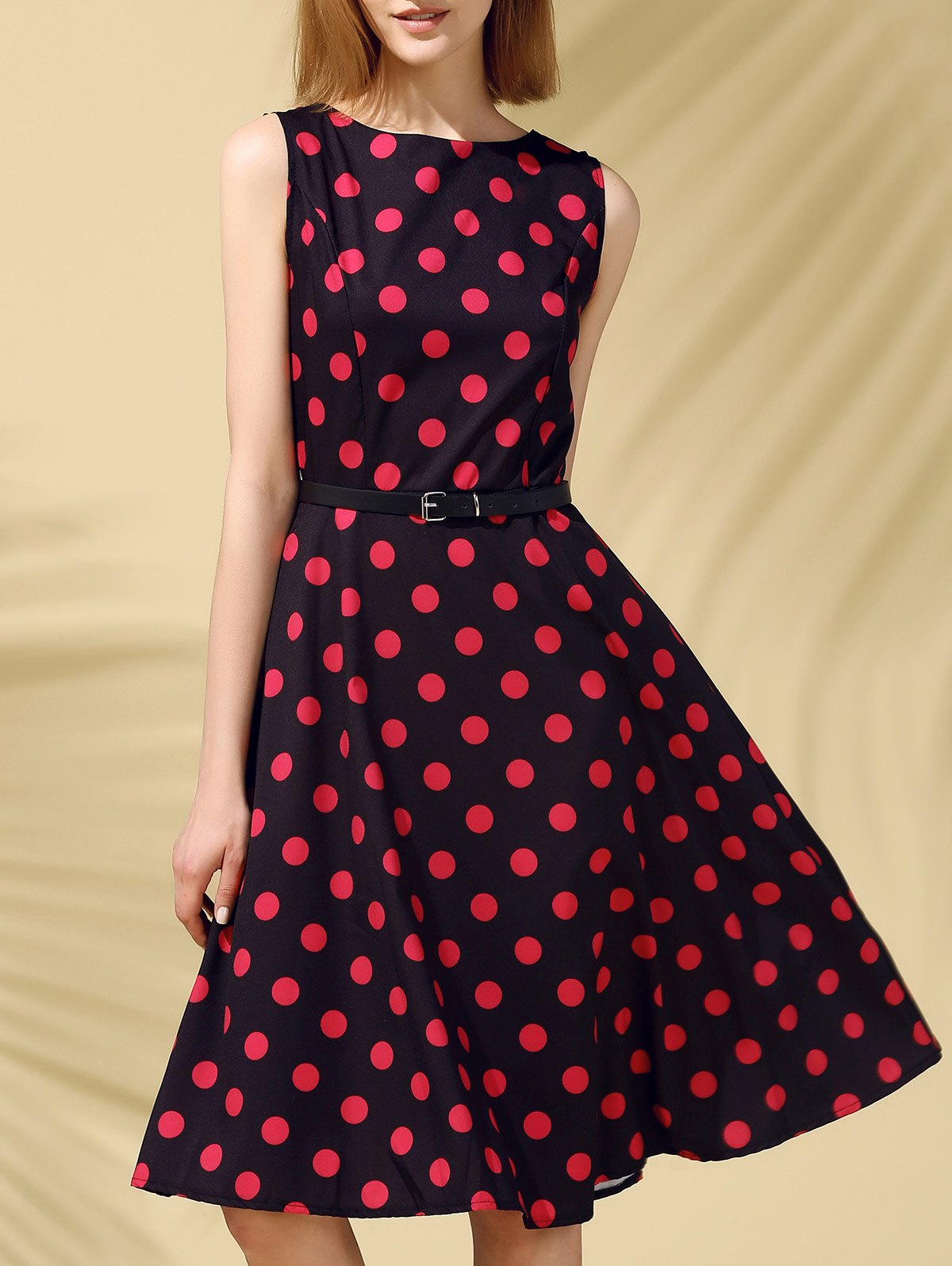 Retro Style Sleeveless Round Neck Polka Dot Women's Dress - BLACK L