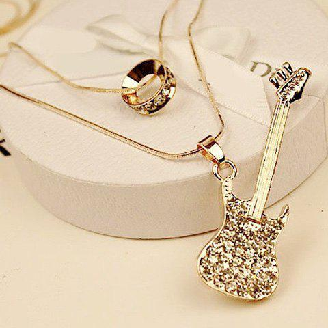 Stunning Layered Rhinestone Guitar Sweater Chain For Women - GOLDEN