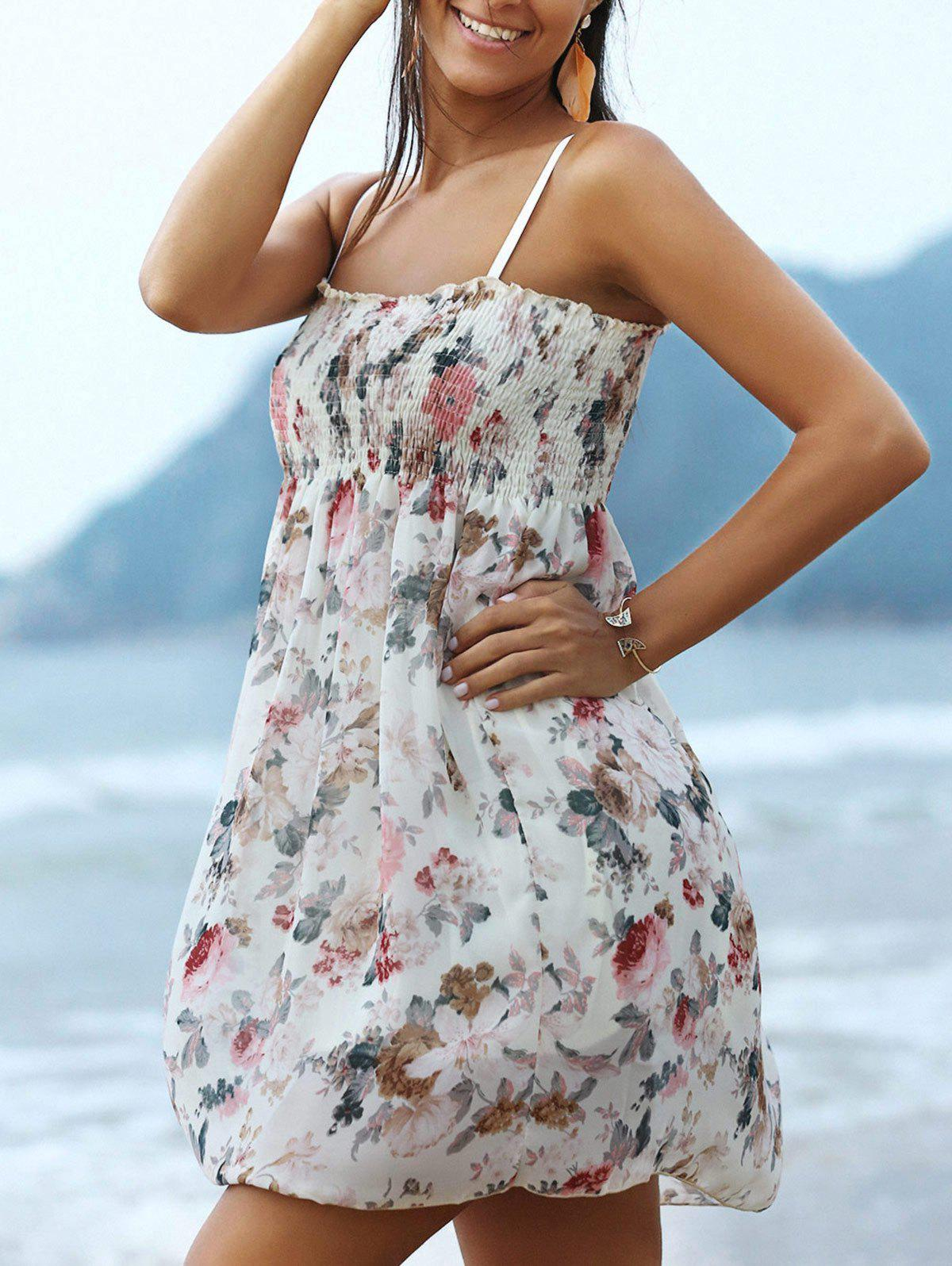 Refreshing High Waist Floral Print Women's Cami Dress - WHITE ONE SIZE(FIT SIZE XS TO M)