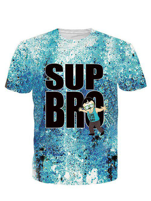3D Cartoon and Letters Print Round Neck Short Sleeve Men's T-Shirt - BLUE L