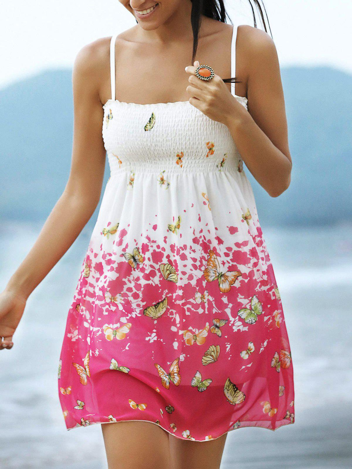 Sweet Butterfly Print Spaghetti Strap Women's Mini Dress - RED/WHITE ONE SIZE(FIT SIZE XS TO M)