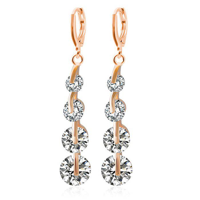 Pair of Rhinestone Long Clip Earrings - ROSE GOLD