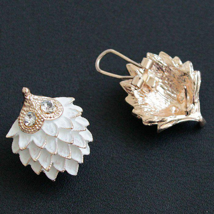 Rhinestone Hedgehog Earrings - WHITE