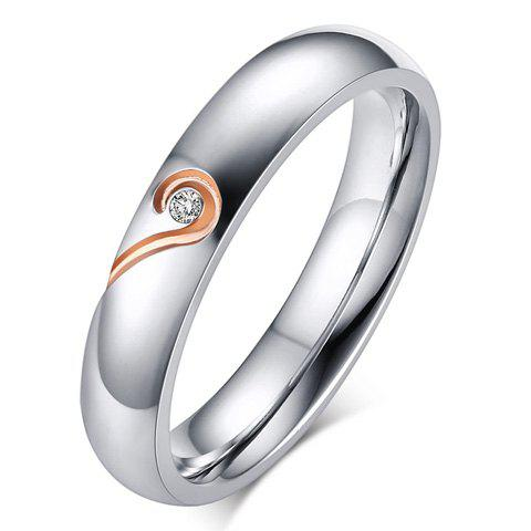 One Piece Silver Plated Love Puzzles Rhinestone Ring - ROSE GOLD