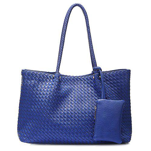 Leisure Weaving and Solid Color Design Women's Shoulder Bag - SAPPHIRE BLUE