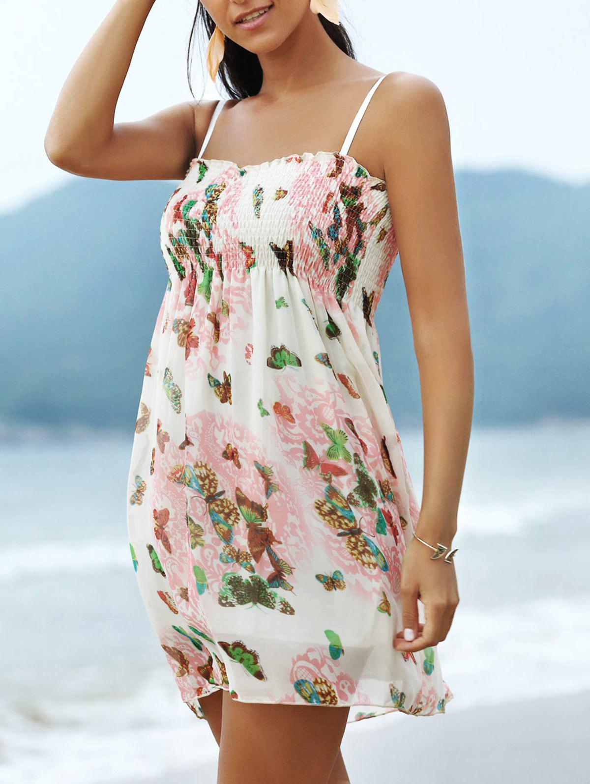 Sweet Butterfly Pattern Spaghetti Strap Women's Mini Dress - ONE SIZE(FIT SIZE XS TO M) OFF WHITE