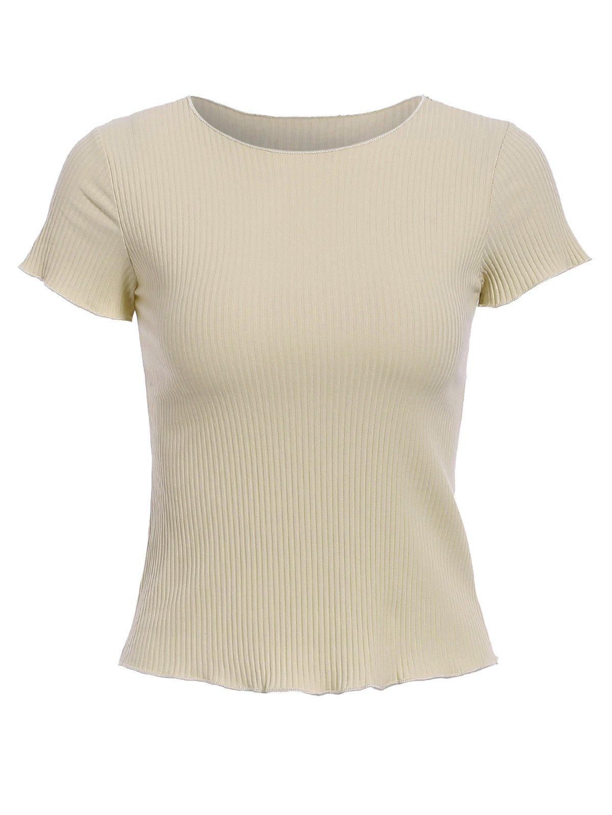 Stylish Women's Round Neck Short Sleeve Ribbed Crop Top - APRICOT ONE SIZE(FIT SIZE XS TO M)