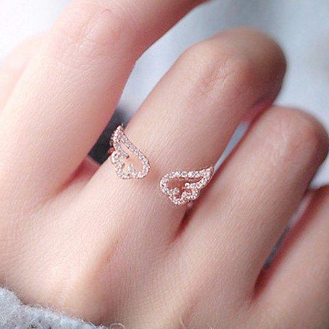 Charming Rhinestone Angel Wings Cuff Ring For Women - ROSE GOLD ONE-SIZE