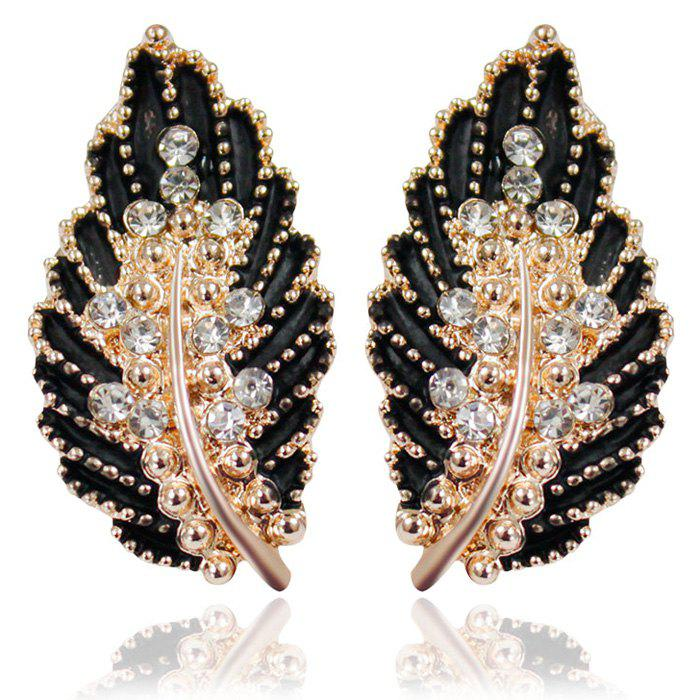 Rhinestone Leaf Earrings - BLACK