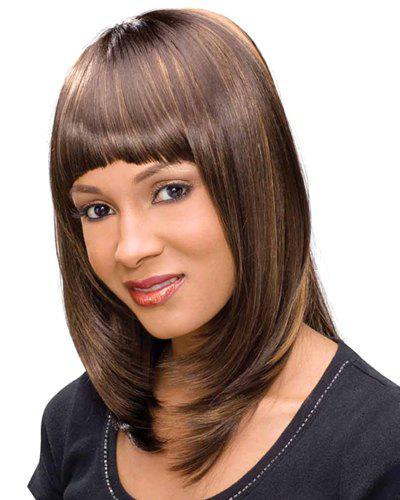 Women's Full Bang Long Straight Heat Resistant Synthetic Wig - BROWN