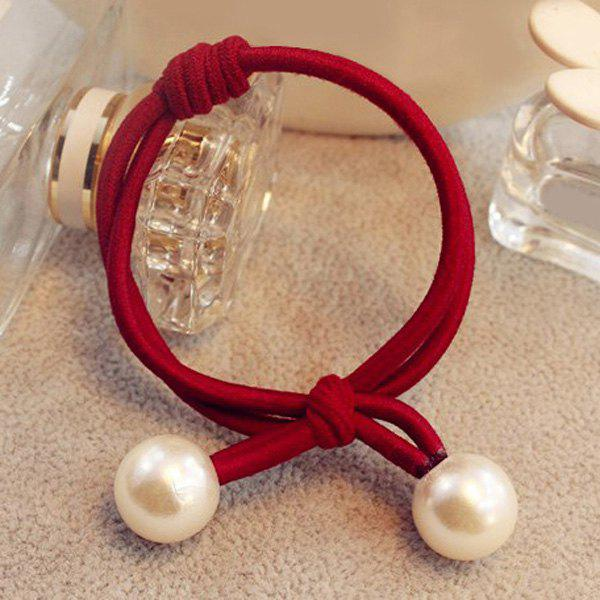 Cute Artificial Pearl Elastic Hair Band For Women - WINE RED