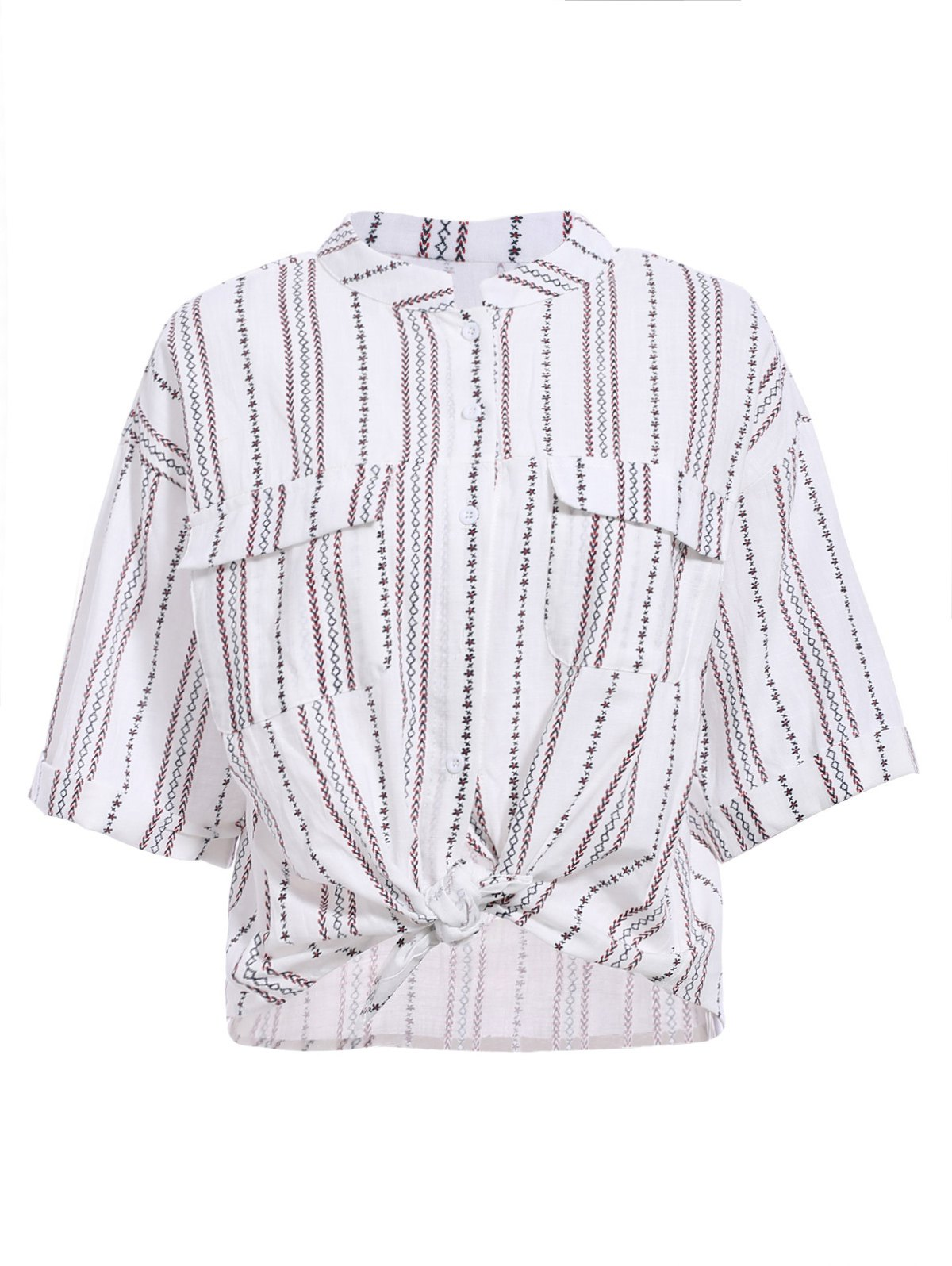 Elegant Women's Stand-Up Collar Striped Design Embroidered Print Shirt