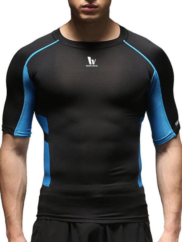 Round Neck Short Sleeve Quick-Dry Fitted Color Block Splicing Men's Training T-Shirt - BLUE XL