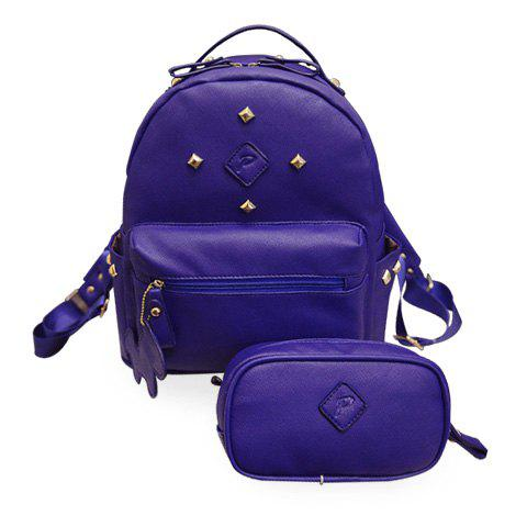 Leisure Solid Color and Rivets Design Women's Satchel
