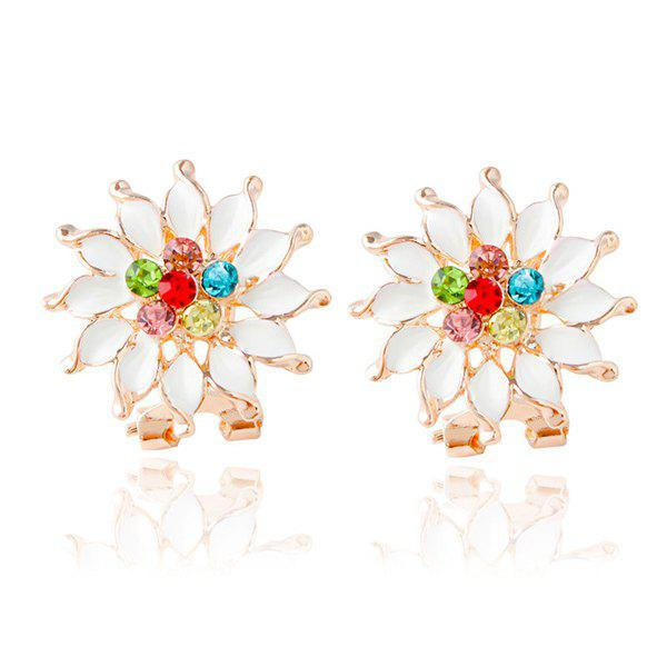 Flower Rhinestone Stud Earrings - COLORMIX