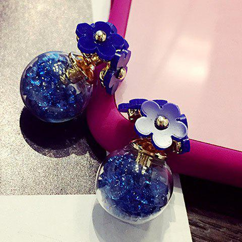 Pair of Charming Floral Beads Earrings For Women - SAPPHIRE BLUE