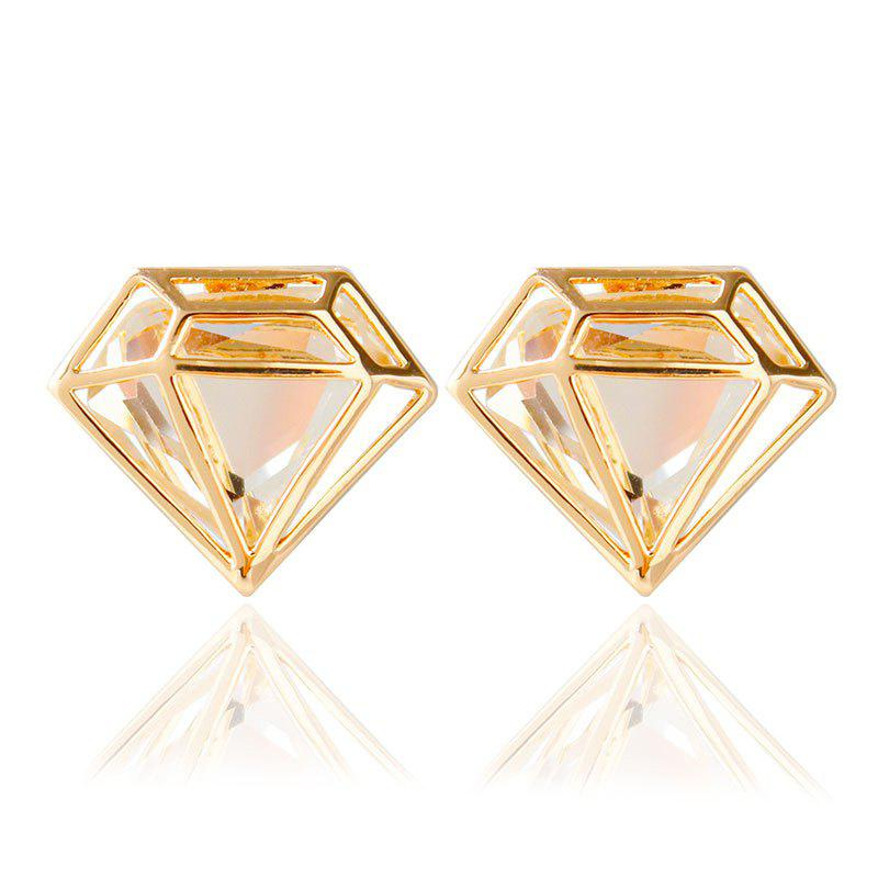 Pair of Faux Crystal Diamond Stud Earrings - GOLDEN