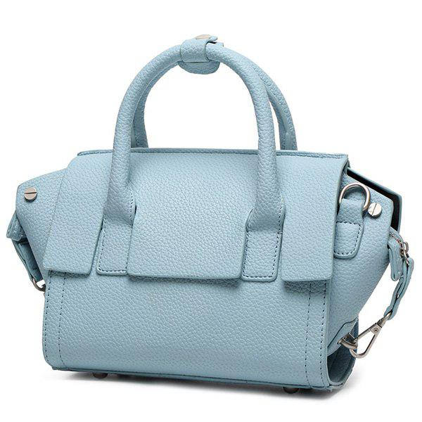 Sweet Solid Color and PU Leather Design Women's Tote Bag - BLUE